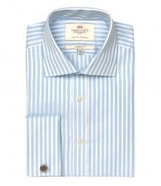 Мужская классическая рубашка Warwick из высококачественного хлопка, двухцветная белая со светло-голубым полоска, двойная манжета