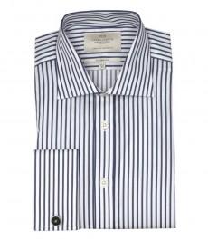 Классическая мужская рубашка Warwick из высококачественного хлопка, белая и тёмно-синяя узкая полоска, двойная манжета