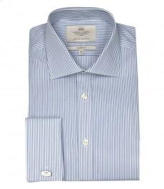 Классическая мужская рубашка Warwick из высококачественного хлопка, бело-голубая полоска, двойная манжета