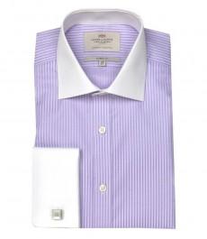 Классическая мужская рубашка Warwick из высококачественного хлопка, фиолетовые полоски на сиреневом фоне, двойная манжета