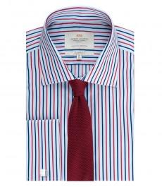 Мужская рубашка, классического кроя, голубая в красную полоску - манжеты под запонку - легко гладится