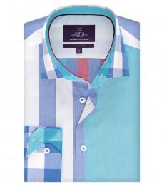 Мужская рубашка, в клетку, приталенная бирюзовая