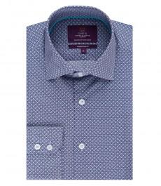 Мужская приталенная рубашка, темно-синяя в голубой геометрический принт - манжеты на пуговицах