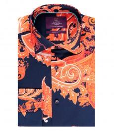 Мужская приталенная рубашка, темно-синяя, оранжевый пейсли - манжеты на пуговицах