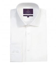 Мужская модная приталенная рубашка Curtis белого цвета - одинарная манжета