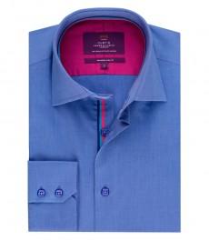 Мужская приталенная рубашка, голубая, ткань end on end (переплетение нитей) - высокий воротник - манжеты на пуговицах