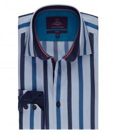 Мужская голубая в темно-синюю полоску рубашка, приталенная - манжеты на пуговицах
