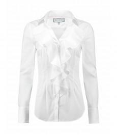 Женская приталенная рубашка, белая BOUTIQUE с жабо - манжеты на пуговицах