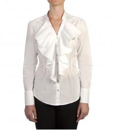 Женская приталенная рубашка, белая, двойное жабо