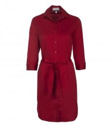 Женское полуприталенное красное платье, 3\4 рукав