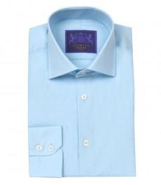 Мужская приталенная рубашка Brandon,голубая, одиночная манжета