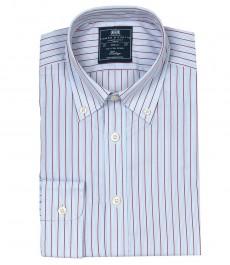 Полуприталенная мужская рубашка Boston Button Down, голубая с красным разноцветная полоска, воротник с пуговицами