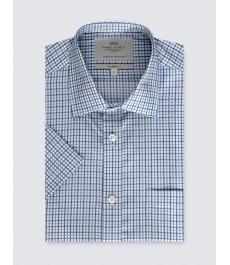 Мужская полуприталенная хлопковая рубашка с коротким рукавом