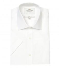 Мужская полуприталенная рубашка Clifford , белая переплетенная ткань, короткий рукав