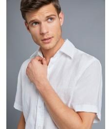 Мужская белая полуприталенная рубашка , льняная ткань, короткий рукав