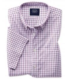 Casual рубашка Charles Tyrwhitt, классический крой, ягодный цвет, мелкая частая клетка, не требует глажки, короткий рукав, хлопок варёнка
