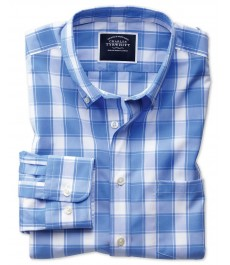 Приталенная casual рубашка Charles Tyrwhitt, воротник с пуговицами, без глажки