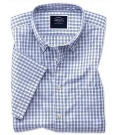 Классическая business casual рубашка Charles Tyrwhitt с коротким рукавом, тёмно-синяя клетка, лёгкая хлопковая ткань
