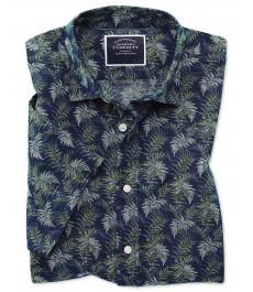 Приталенная casual рубашка Charles Tyrwhitt, тёмно-синий и зелёный принт, лён и хлопок, короткий рукав