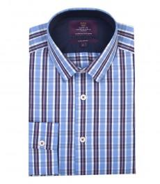 Мужская экстраприталенная модная рубашка, голубая и красная мульти клетка - рукава с пуговицами