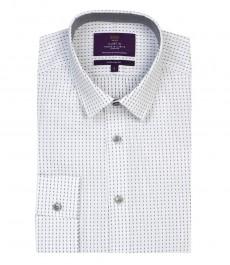 Мужская экстраприталенная модная рубашка, белая с серым геометрическим принтом - рукава под пуговицу
