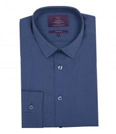 Мужская экстраприталенная рубашка, однотонная темно-синяя - манжеты на пуговицах.