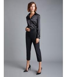 Женская приталенная рубашка, чёрная, сатин - Манжеты под запонки