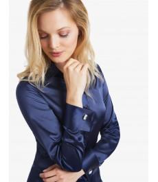 Женская темно-синяя блузка, сатин, приталенная - манжеты под запонку