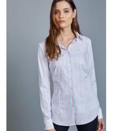 Женская приталенная английская рубашка голубая в розовую полоску - Манжеты под запонки