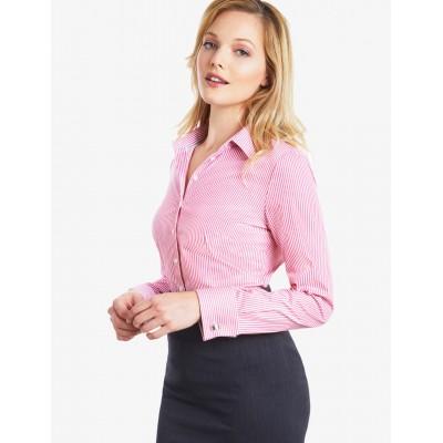 ea876e9e93dc2b4 Женская приталенная розовая рубашка, коллекция Executive, белая бенгальская  полоска - рукава под запонку