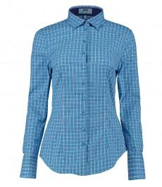 Женская приталенная рубашка в бирюзовую и темно-синюю среднюю клетку, контрастные детали - одинарная манжета