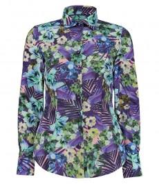 Женская приталенная рубашка, фиолетовый и зеленый принт - манжеты на пуговицах