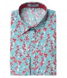 Женская приталенная рубашка зелёно-красного цвета с ярким цветочным принтом Mel Ditsy, одинарная манжета
