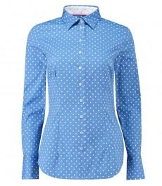 Женская приталенная рубашка, светло-голубая в крапинку - манжеты на пуговицах