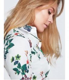 Женская приталенная рубашка, белая с цветочным сочным зелёным принтом, хлопок, эластан - манжеты на пуговицах