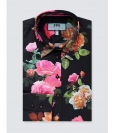 Женская приталенная рубашка, чёрная в розовые цветы - Манжеты на пуговицах