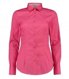 Женская приталенная рубашка, розовая - манжеты на пуговицах