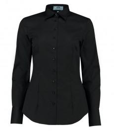 Женская приталенная рубашка, черная стрейч - манжеты на пуговицах