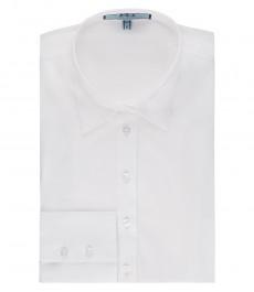 Женская приталенная белая рубашка, хлопковая ткань стрейч - одинарная манжета