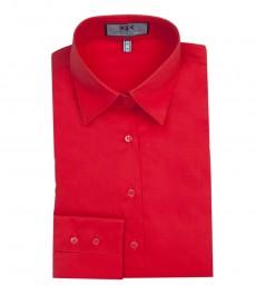 Женская приталенная рубашка ярко-красная