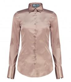 Женская приталенная рубашка, бежевый цвет - манжеты на пуговицах