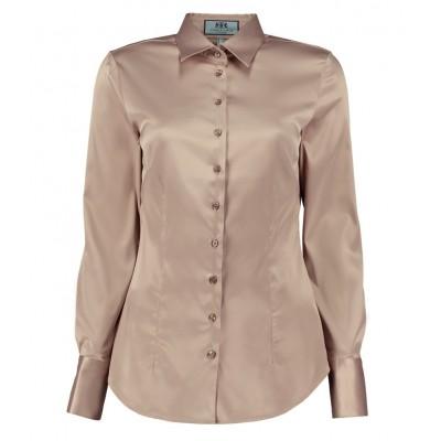 cd86bf6044e8c3e Женская приталенная атласная рубашка серо-коричневого цвета - одинарная  манжета