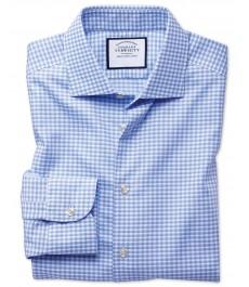 Мужская приталенная рубашка Charles Tyrwhitt, полусрезанный воротник, стиль бизнесс кэжуал, современная текстура немнущейся ткани в виде ломанной клетки небесно-голубого цвета