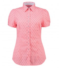 Женская приталенная рубашка с коротким рукавом, коралловая в клетку - низкий воротник