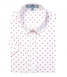 Женская приталенная рубашка белая в точку цвета фуксии с коротким рукавом - низкий воротничок