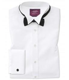 Приталенная белая вечерняя рубашка Charles Tyrwhitt , воротник под бабочку, нагрудник ткань марселло