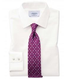Мужская приталенная кремовая хлопковая рубашка Charles Tyrwhitt , рукав под пуговицу, не требует глажки