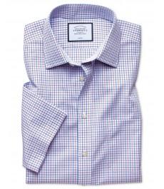 Приталенная рубашка Charles Tyrwhitt с коротким рукавом, гладкая ткань, сиренево-голубая клетка, не требует глажки, сохраняет прохладу по технологии Cool