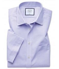 Приталенная рубашка Charles Tyrwhitt фиолетовая с коротким рукавов, не требует глажки, сохраняет прохладу