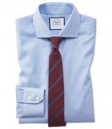 Экстраприталенная рубашка Оксфорд от Charles Tyrwhitt, не требует глажки, срезанный воротник, хлопковая стрейч-ткань гусиная лапка небесно-голубого цвета